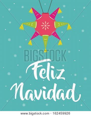 Feliz Navidad Merry christmas in spanish with piñata