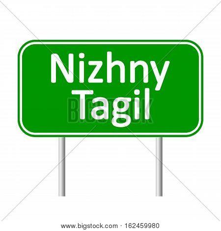 Nizhny Tagil road sign isolated on white background.