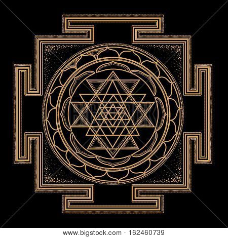 abstract gold monochrome abstract symbols of sacred geometry intertwine shape triangle line on black background