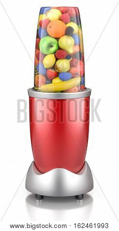 Red electric blender with healthy fruits inside - 3D illustration