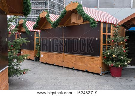 Berlin Germany - december 20,2016: Closed market stalls at Christmas Market in Berlin the day after a truck drove into a crowd of people.