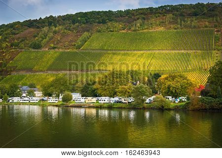 Сamping on the Moselle's right bank in autumn, Germany
