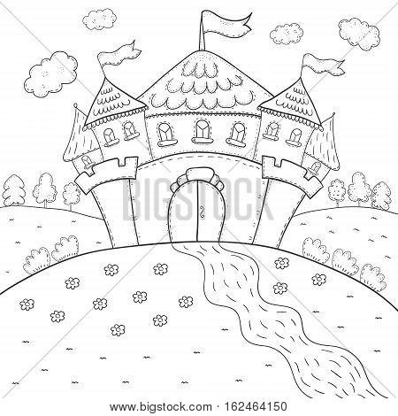 coloring book magic castle design for kids.