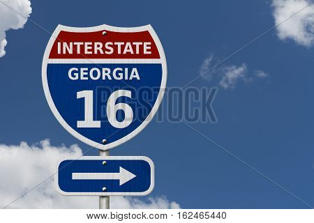 USA Interstate 16 highway sign Red white and blue interstate highway road sign with number 16 with sky background 3D Illustration