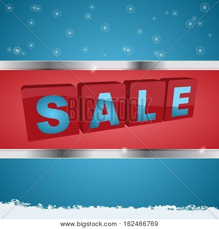 Winter Sale Background with Solid Tags Letters in Metallic Frame Over Blue Background with Snowflakes and Snow