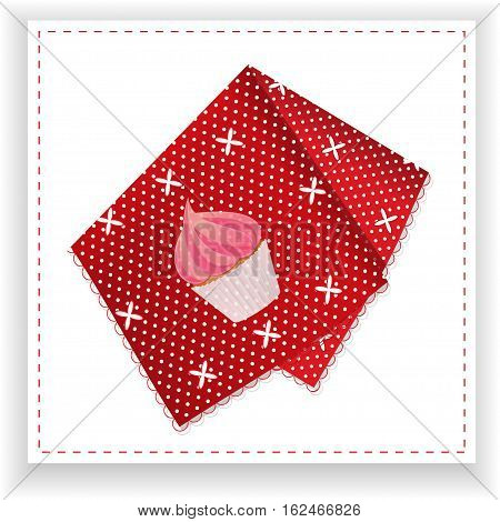 Red and White Dots Folded Tea Towel with Printed Cupcake Over Withe Panel
