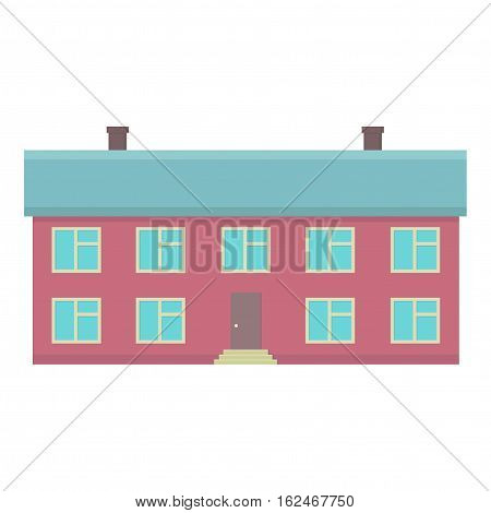 House with two floors. Municipal building. Front door with steps. Vector illustration.