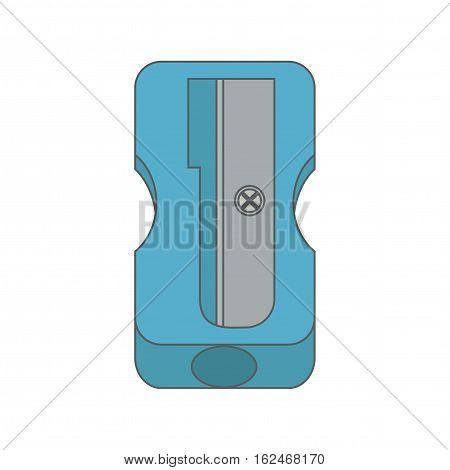Blue detailed pencil sharpener for education. Vector illustration.