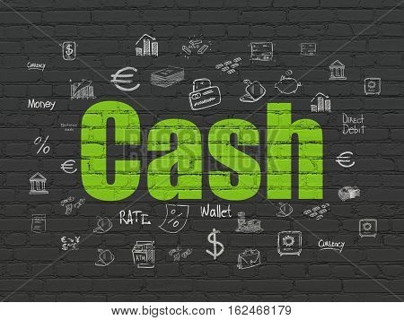 Money concept: Painted green text Cash on Black Brick wall background with  Hand Drawn Finance Icons