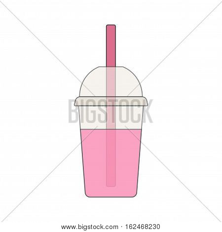 Smoothie or lemonade in a plastic cup with a straw. Vector illustration.