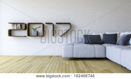 3d rendering image of 2017 wooden shelf on white brick wall. white sofa set on the wooden floor. background for new year festival.