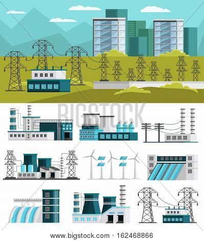 Power generation orthogonal concept with electric station design and set of energy plants isolated vector illustration