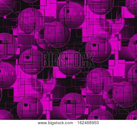 Abstract seamless pattern on black surface smooth convex and pink and gray balls and circles, squares and dots