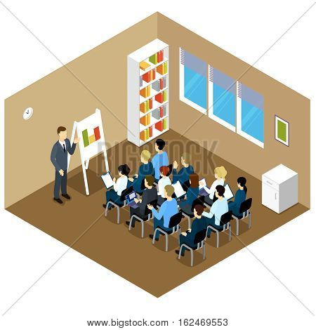 People isometric training composition with clerical characters in smart clothes upgrade qualifications in brown classroom interior vector illustration