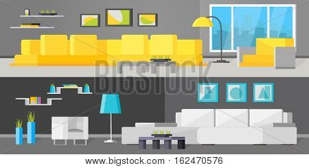 Horizontal orthogonal banners with living room interiors including sofa coffee table and floor lamp isolated vector illustration