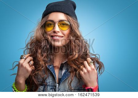 Portrait Of Beautiful Trendy Hipster Girl