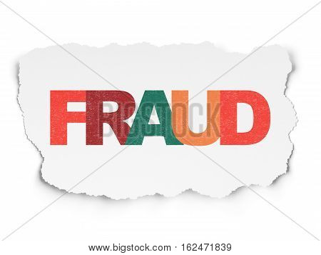 Protection concept: Painted multicolor text Fraud on Torn Paper background