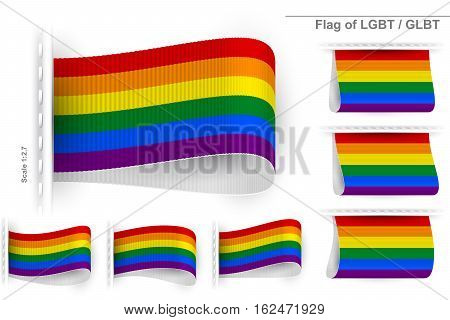Flag of LGBT community and Gay Pride; Sewn clothing label tag; Rainbow flag of Lesbian Gay Bisexual and Transgender; Vector icon set Eps10