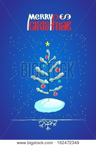 Christmas tree with ball decorations and Merry Chistmas lettering, hand drawn vector sketchy design element. Doodle illustration for greeting card or poster and border with snowflake
