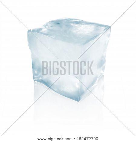 3d illustration ice floe block on winter blue background