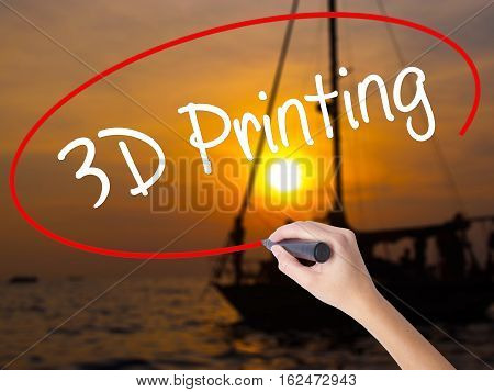 Woman Hand Writing 3D Printing With A Marker Over Transparent Board.