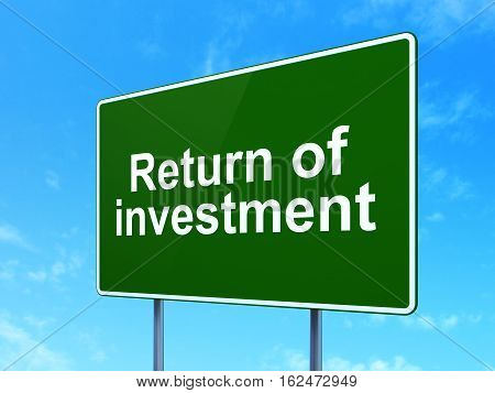 Finance concept: Return of Investment on green road highway sign, clear blue sky background, 3D rendering