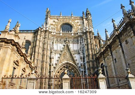 lateral entrance to the Seville Cathedral, in Seville, Spain