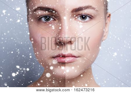 winter christmas people beauty concept- Before and after cosmetic operation. Before and after cosmetic or plastic procedure anti-age therapy over snow background