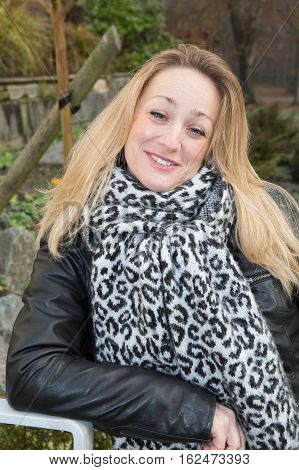 Nice Blond 40 Woman Outdoor In Winter Or Autumn Day