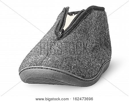 In front one piece the comfortable dark gray slipper isolated on white background