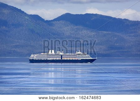 The cruise liner on a way to Juneau the capital of Alaska.