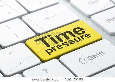 Timeline concept: computer keyboard with word Time Pressure, selected focus on enter button background, 3D rendering