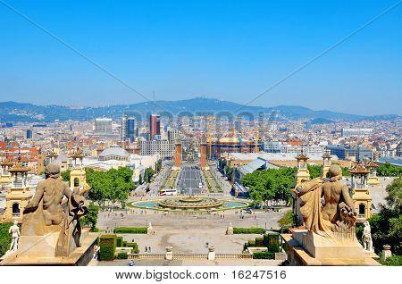 View of Castell de Montjuich, in Barcelona Spain poster