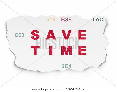 Time concept: Painted red text Save Time on Torn Paper background with  Hexadecimal Code