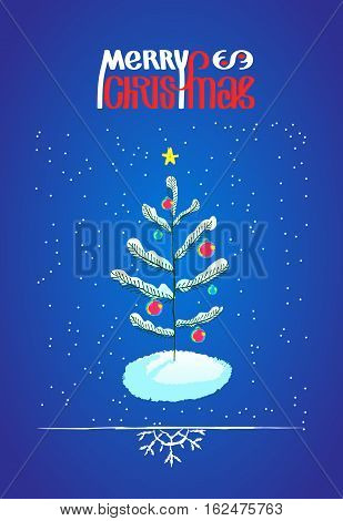 Christmas tree with ball decorations and Merry Chistmas lettering, hand drawn sketchy design element. Doodle illustration for greeting card or poster and border with snowflake
