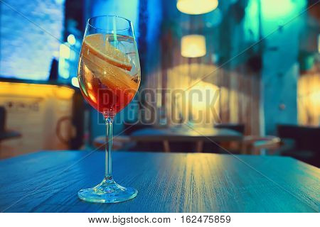 Colorful Cocktail In Glass With Orange And Lemon