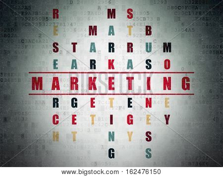 Advertising concept: Painted red word Marketing in solving Crossword Puzzle on Digital Data Paper background