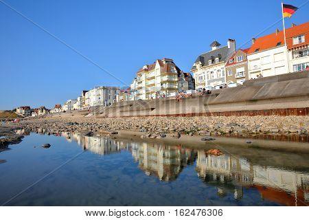 WIMEREUX, FRANCE - AUGUST 29, 2016: Reflections of the sea front in Cote d'Opale, Pas-de-Calais