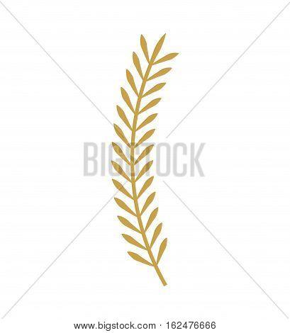 leafs gold decorative icon vector illustration design