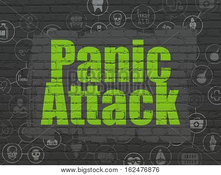 Healthcare concept: Painted green text Panic Attack on Black Brick wall background with Scheme Of Hand Drawn Medicine Icons