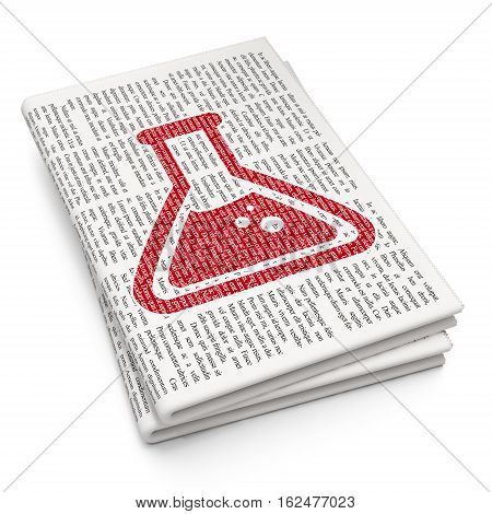 Science concept: Pixelated red Flask icon on Newspaper background, 3D rendering