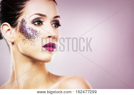 Paarty Woman Swearing Purple Colors On Light Backgound