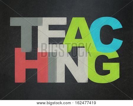 Studying concept: Painted multicolor text Teaching on School board background, School Board