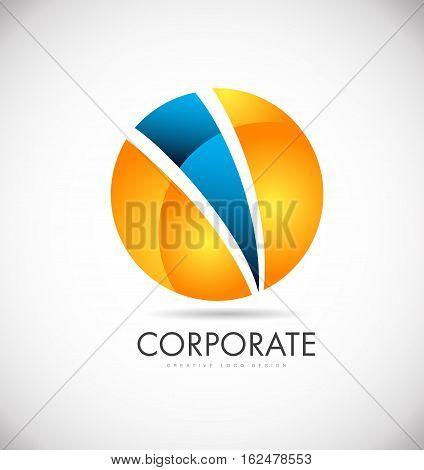 Corporate orange blue sphere vector logo icon sign design template