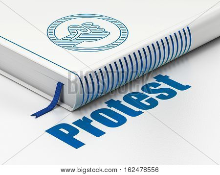 Political concept: closed book with Blue Uprising icon and text Protest on floor, white background, 3D rendering