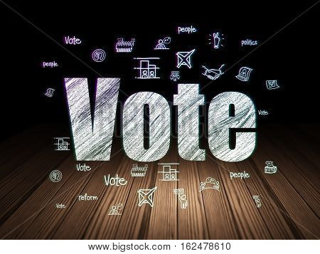 Political concept: Glowing text Vote,  Hand Drawn Politics Icons in grunge dark room with Wooden Floor, black background