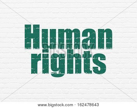 Politics concept: Painted green text Human Rights on White Brick wall background