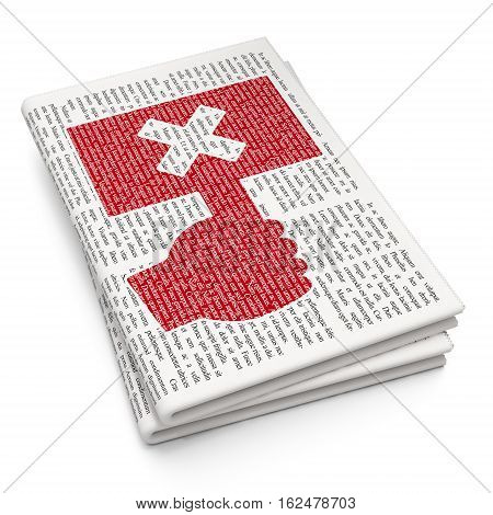 Politics concept: Pixelated red Protest icon on Newspaper background, 3D rendering