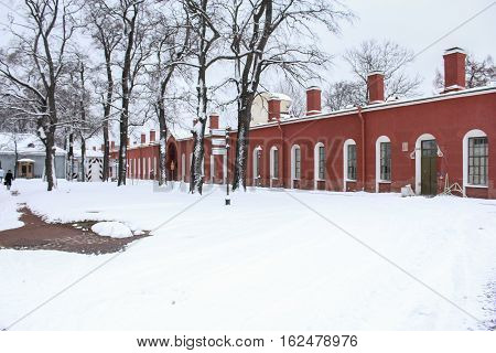 St. Petersburg, Russia - 2 December, Peter Curtin and Peter's Gate, 2 December, 2016. Land and building the Peter-Paul fortress.