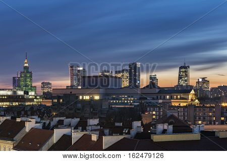 Sundown over Warsaw downtown in winter time Poland